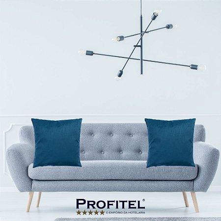 Almofada Lisa c/ Enchimento 45x45cm - Azul - Profitel Decor
