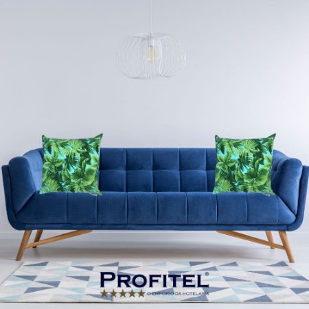 Kit 2 Capas para Almofadas Estampa Floral Verde 45x45cm - Profitel Decor
