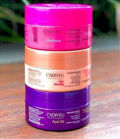 Cadiveu Kit 3 máscaras Glamour + Açaí + Hair Remedy 200ml
