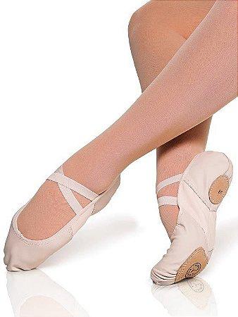 Sapatilha de Ballet Meia Ponta Sola Dividida Stretch Couro Capezio Ref 2000