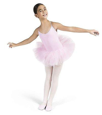 Collant de Ballet Infantil com Alça e Saia de Tule Ref 1038