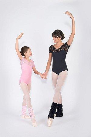 Collant de Ballet Meia Manga Adulto ou Infantil com Renda Capezio CL110