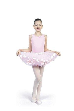 Saia de Ballet Infantil Tule (Tou Tou) Laço na Cintura Capezio Ref 1044L