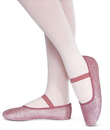 Sapatilha de Ballet Rosa Meia Ponta em Korino com Glitter Capezio Ref 002kgb