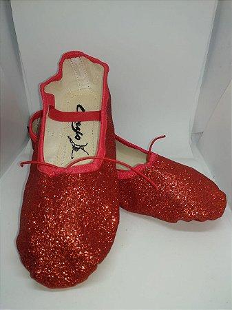 Sapatilha de Ballet Vermelha Meia Ponta em Korino com Glitter Capezio Ref 002kgb