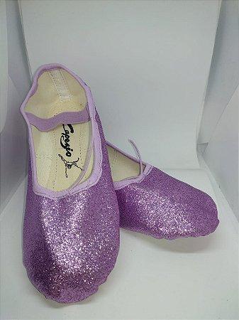 Sapatilha de Ballet Lilás Meia Ponta em Korino com Glitter Capezio Ref 002kgb