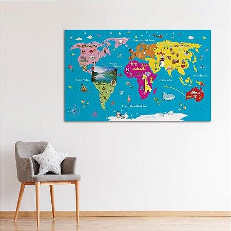 Painel Metálico Mapa-Múndi - Era Uma Vez - 50 x 80 cm