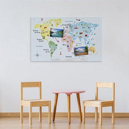 Painel Metálico Mapa-Múndi - Aquarela - 50 x 80 cm