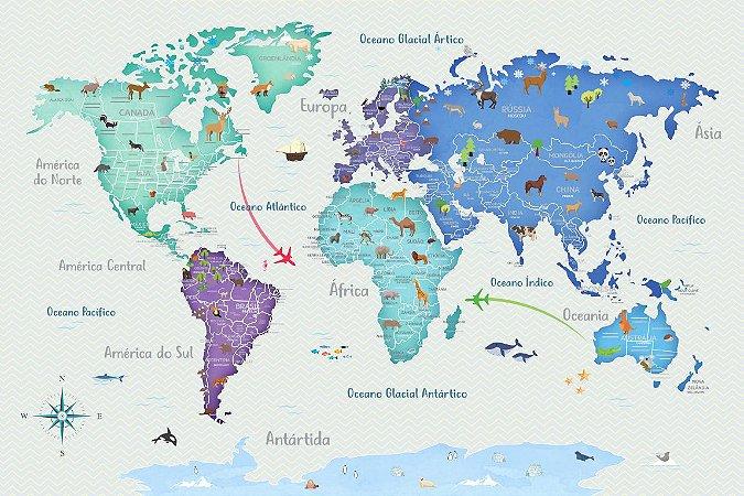 Adesivo Mapa-Múndi - Animais (Tons Azuis)