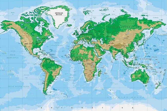 Adesivo Mapa-Múndi - Topográfico