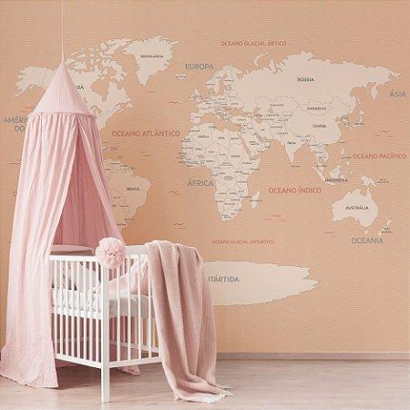 Adesivo Mapa-Múndi - Rosé