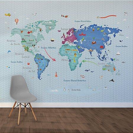 Adesivo Mapa-Múndi - Zig Blue (PT-BR)