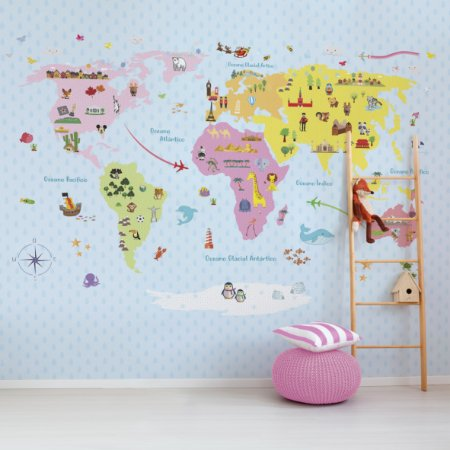 Adesivo Mapa-Múndi - My Baby