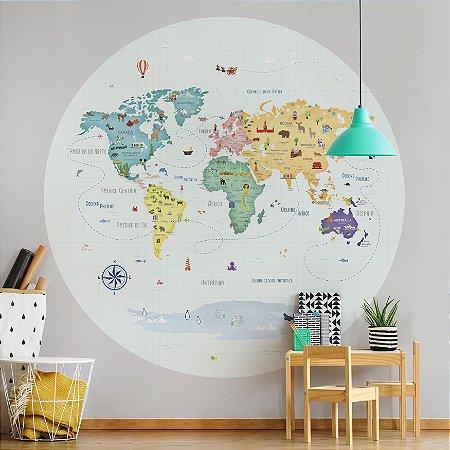 Adesivo Mapa-Múndi Redondo - Volta ao Mundo (PT-BR)