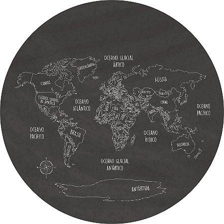 Adesivo Mapa-Múndi Redondo - Blackboard