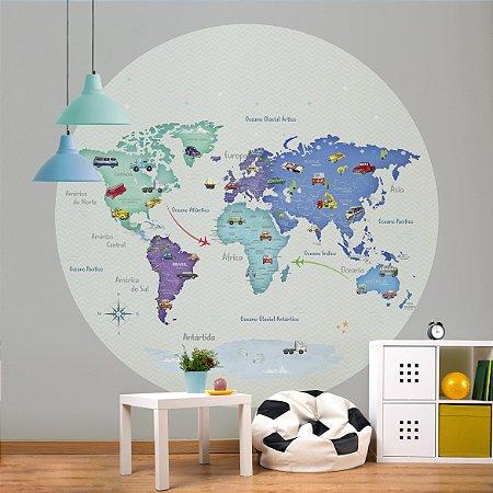 Adesivo Mapa-Múndi Redondo - Carrinhos