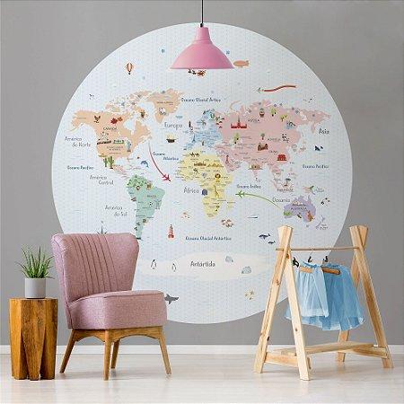 Adesivo Mapa-Múndi Redondo - Candy