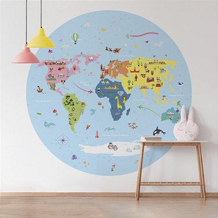 Adesivo Mapa-Múndi Redondo - Funny Stars