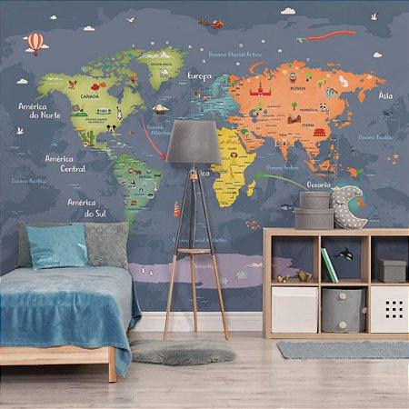 Adesivo Mapa-Múndi - Happy in Colors (PT-BR)