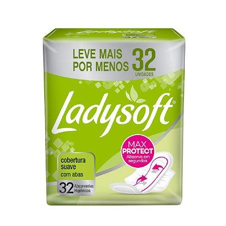ABSORVENTE FEMININO LADYSOFT NORMAL SUAVE COM ABAS - 32 UNIDS
