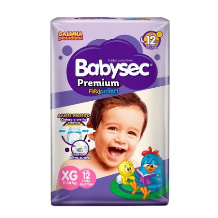 Fralda BabySec GALINHA PINTADINHA Premium - XG - 12 unids - Experimente e se Surpreenda