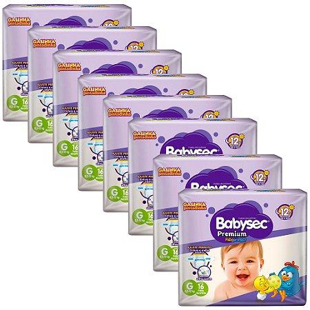 Kit 8 Fraldas BabySec GALINHA PINTADINHA Premium - G - 128 unids - Experimente e se Surpreenda
