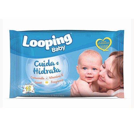 TOALHA UMEDECIDA LOOPING BABY CAMOMILA 19 X 14 CM - PCT C/ 48 UNIDADES