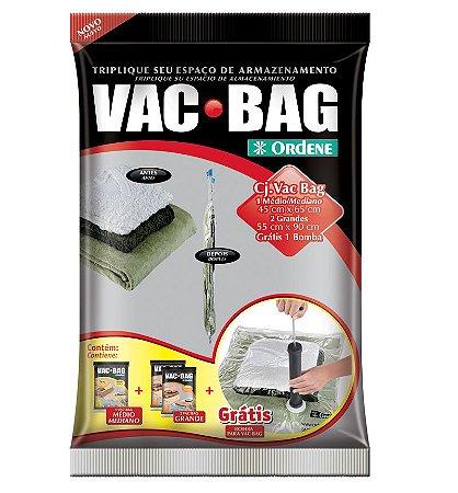 Conjunto ORDENE  VAC BAG  01 MÉDIO + 2 GRANDES + BOMBA GRÁTIS TRANSPARENTE-Cor Preto