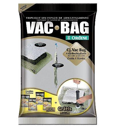 Conjunto ORDENE VAC BAG 4 MÉDIOS + BOMBA GRÁTIS TRANSPARENTE -Cor PRETO