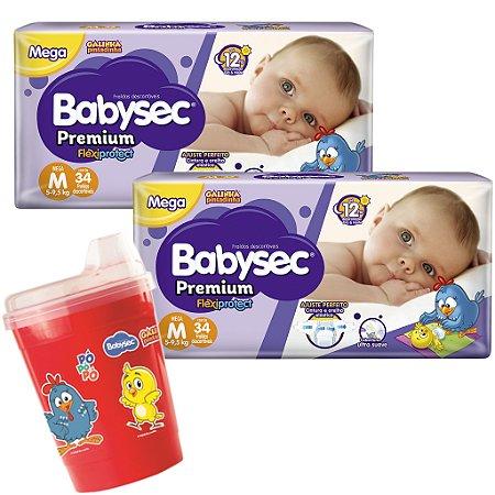 Kit 02 Fraldas BabySec GALINHA PINTADINHA Premium -M-68 unids + 01 Copo Brinde