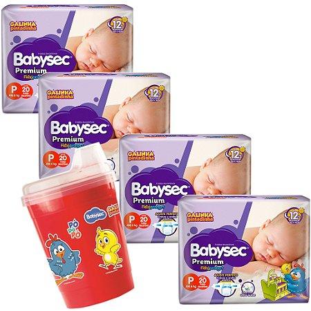 Kit 04 Fraldas BabySec GALINHA PINTADINHA Premium -P-80 unids + 01 Copo Brinde