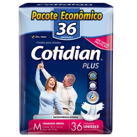 FRALDA DESCARTÁVEL ADULTO COTIDIAN PLUS M COM 36 UNIDS