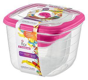 Conjunto 03 Potes - 5 litros+1,6 litros+460 ml Quadrado Plástico-Cor Cereja-SANREMO