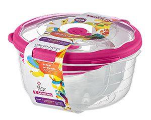 Conjunto 03 Potes-3,2 litros+1,1 litros+290ml Redondo Plástico-Cor Cereja-SANREMO