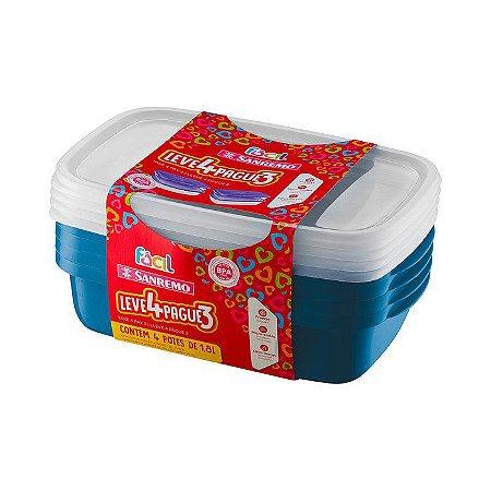Conjunto 04 Potes Plásticos-1,8 Litros cada-Cor Azul-SANREMO