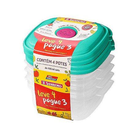Conjunto Leve 04 pague 03 Potes 480ml cada- Plástico-Cor Verde- SANREMO