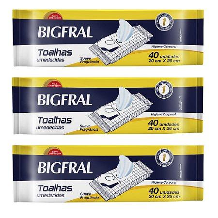 Kit 03 Lenço Umedecido BIGFRAL 120 Unidades