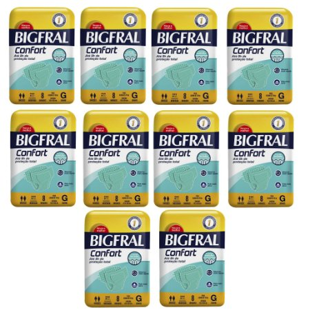 Kit 10 Fraldas BIGFRAL CONFORT GD 80 Unidades