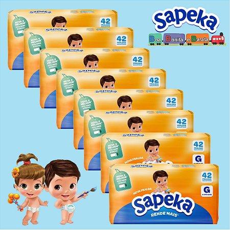 Kit Fralda Descartáveis SAPEKA - GD - 336 Unids - Leve 8 / Pague 6