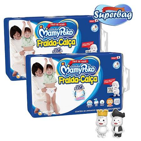 Kit 02 Super Bag FRALDA CALÇA  Descartável Mamypoko XXG - 96 Unidades + Coleção 02 Bonecos Poko-Chan