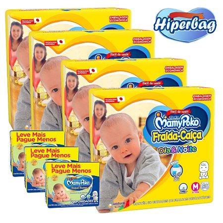 Kit 04 Hiper Bag FRALDA CALÇA  Descartável DIA&NOITE MamyPoko - M -232 Unidades + 600 lenços Umedecidos