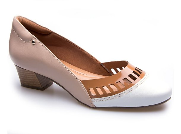 Sapato Neftali Comfort Laser Nude/Branco