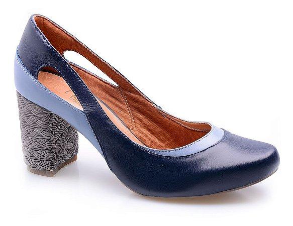 Sapato Neftali Comfort Azul Salto Trança