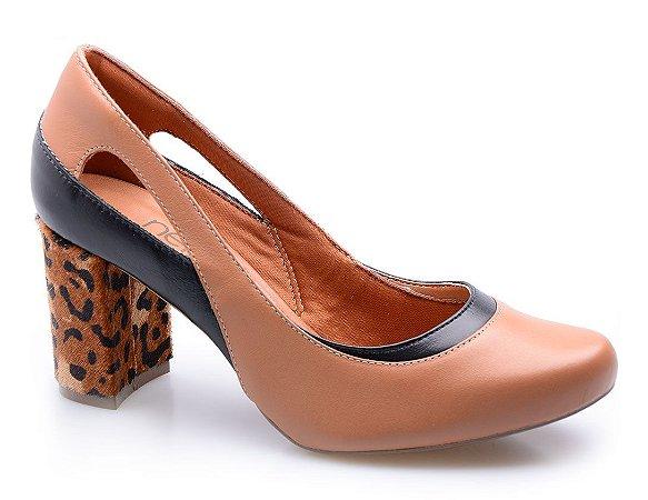Sapato Neftali Comfort Conhaque Salto Trança