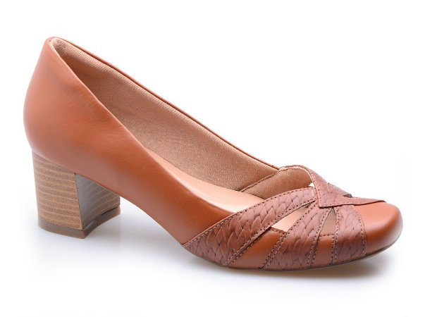 Sapato Neftali Comfort Couro Tressê Conhaque