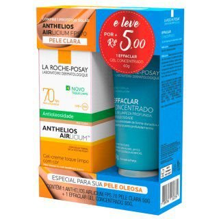 Kit Protetor Solar Anthelios Airlicium Pele Clara FPS 70 50g+ Gel de Limpeza Facial Effaclar Concentrado 60g
