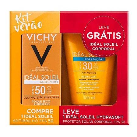 Kit Vichy Ideal Soleil Protetor Solar Antibrilho FPS50 40g + Protetor Solar Corporal Hydrasoft FPS30 120ml
