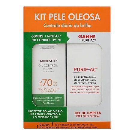Kit Protetor Solar Facial Roc Minesol Oil Control FPS 70 50g GANHE Gel de Limpeza Facial Roc Purif 80g