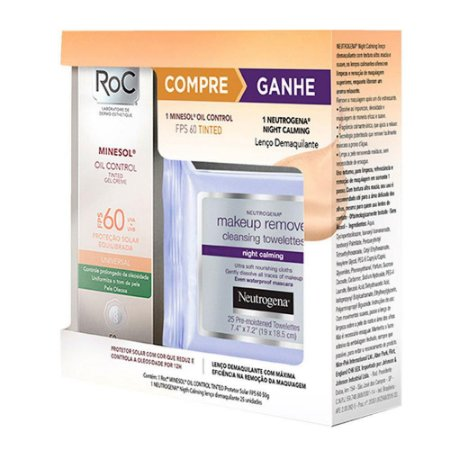 Protetor Solar Roc Minesol Oil Control Tinted + Lenço Demaquilante Neutrogena