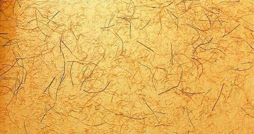 Papel Reciclado Artesanal Laranja - fibras coloridas